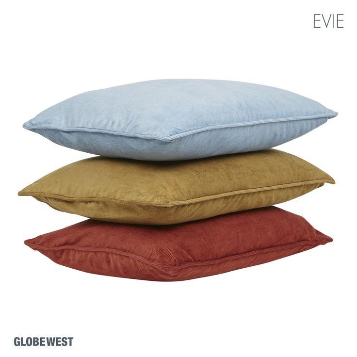 Homewares   Evie Corduroy Cushions in Duck Egg Blue, Mustard & Terracotta