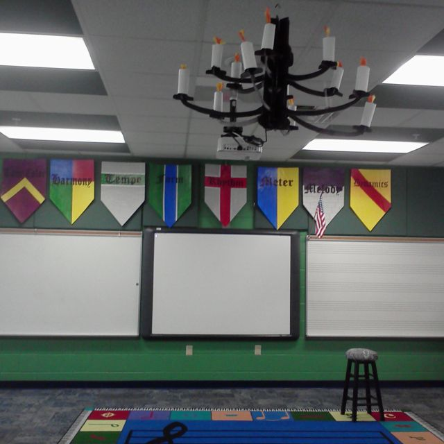 Have the classrooms design their own banners or coat of arms to display in the fair/library.