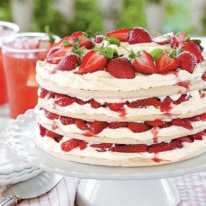 Fresh Strawberry Meringue Cake - MyRecipes