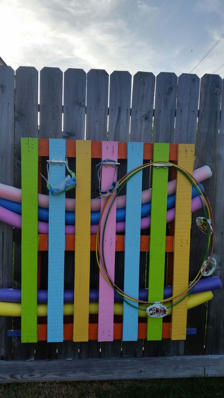 Pool toy storage made from old pallets. More