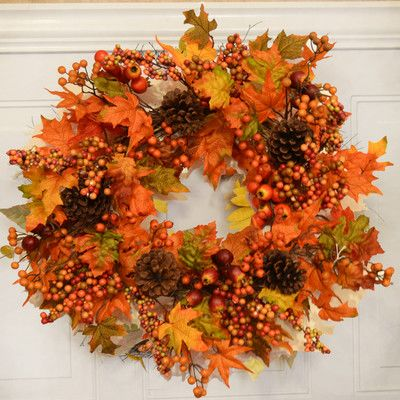 Floral Home Decor Fall Leaf and Berry Door Wreath & Reviews | Wayfair