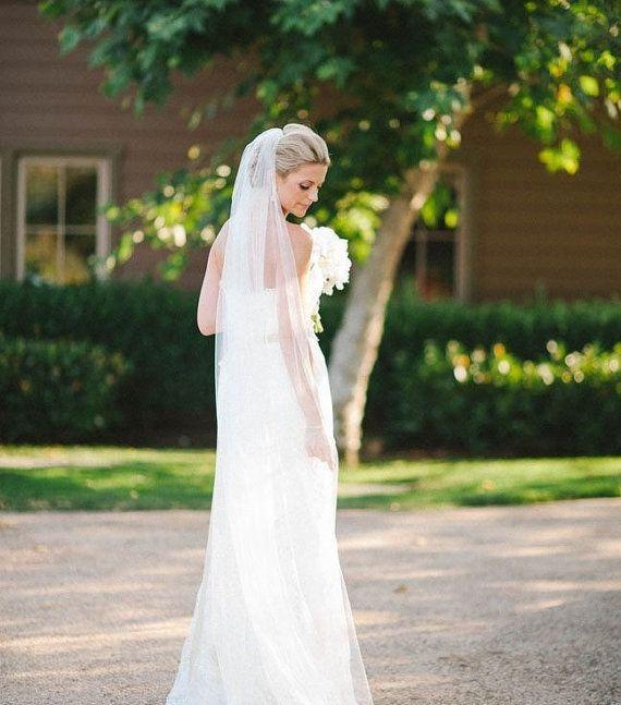 Chapel Wedding veil Long  bridal Veil bridal veil cut edge veil