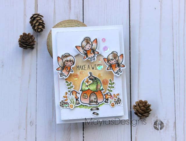 Mayras Designs, Lawn Fawn, Lawn Fawn Stamps, Lawn Fawn Fairies, Autumn Card, Autumn Colors, Woodland fairy ,