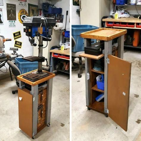 """""""I built this drill press stand following the instructions and within an hour it was assembled and ready for paint. I made a couple simple doors to enclose the storage. I also added screws to hold my clamps on the side of unit."""""""