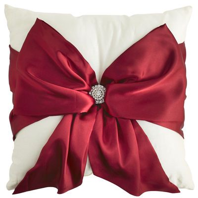 Red Bow Silk Pillow
