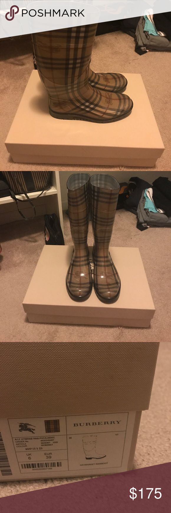 Burberry Haymarket Rainboot Size 39 These rain boots are perfect for the fall and winter. Classic Burberry print. The material is pvc. The rain boots are size 39. The boots were worn twice. They are in like new condition. Burberry Shoes Winter & Rain Boots