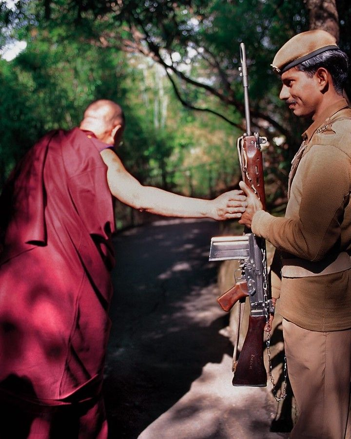 """""""There's a Tibetan saying: Wherever you have friends, that's your country, and wherever you receive love, that's your home,"""" the Dalai Lama, the spiritual leader of Tibet. From my book, """"A Simple Monk."""" As I walked with him from his home to his office in Dharamsala, India he stopped and blessed his rifle toting police guard. He has been in exile from his home country of Tibet since since March 10, 1959.  On July 6, 2107 we celebrated the Dalai Lama's 82nd birthday. #Tibet #Tibetinexile…"""