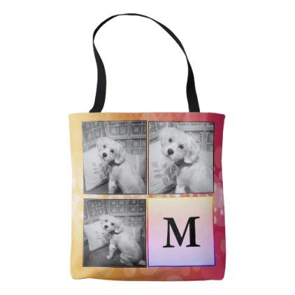 3 Photo Collage Bokeh Monogram Tote Bag - monogram gifts unique design style monogrammed diy cyo customize