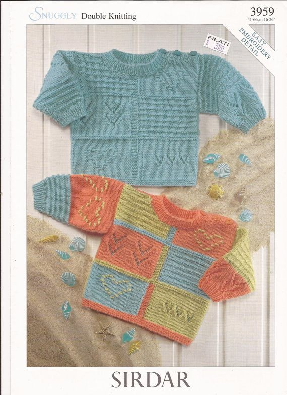Sirdar Snuggly DK Knitting Pattern 3959 Sweaters w/ Easy Embroidery Detail NB-6y
