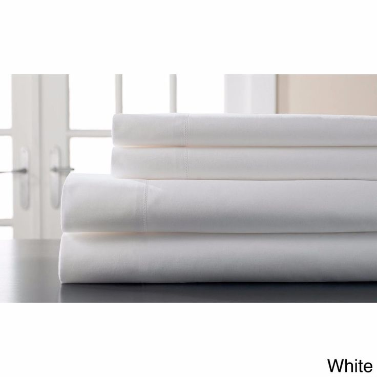Hemstitch 400 Thread Count Queen Sateen Solid White Cotton 4 Piece Sheet Set  #Unbranded #Classic