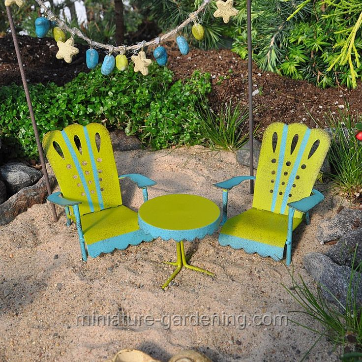 Metal Adirondack Table and Chairs  miniature gardening  fairy. 77 best images about Mini Garden  Furniture on Pinterest
