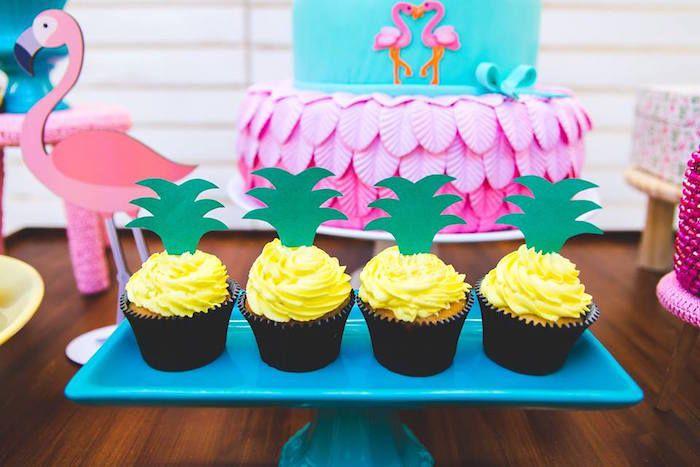 Pineapple cupcakes from a Tropical Flamingo Birthday Party on Kara's Party Ideas   KarasPartyIdeas.com (16)