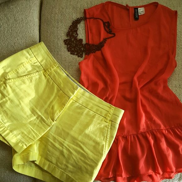 NWOT J.Crew CHINO shorts New J Crew CHINO shorts. They have been tried on. Unfortunately I don't have the tag!  Very nice bright yellow. Almost same like the pictures. Size 2  I have another listing for the top (H&M) J. Crew Shorts