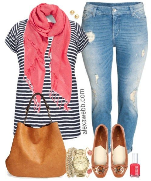 Plus Size Summer Stripes & Boyfriend Jeans Outfit - Plus Size Fashion - alexawebb.com