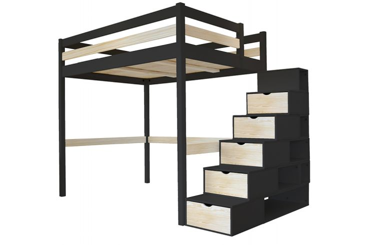 mezzanine sylvia avec escalier cube bois lit mezzanine abc meubles pinterest lits. Black Bedroom Furniture Sets. Home Design Ideas