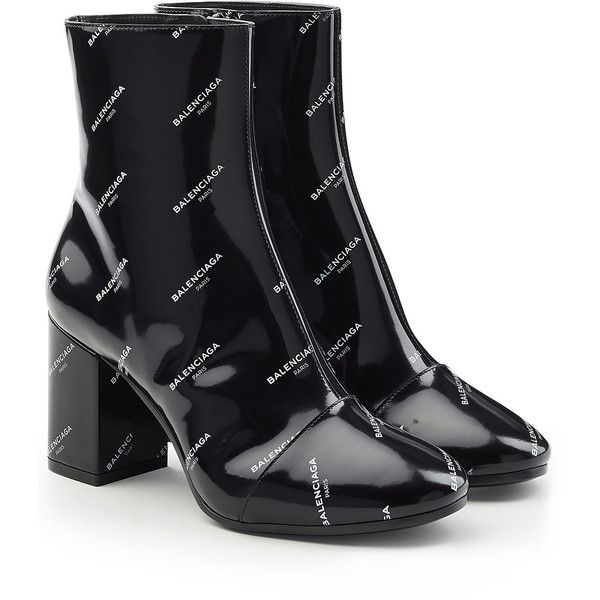 Balenciaga Printed Patent Leather Ankle Boots ($925) ❤ liked on Polyvore featuring shoes, boots, ankle booties, heels, black, black patent booties, black bootie, thick heel booties, black heeled booties and black ankle bootie