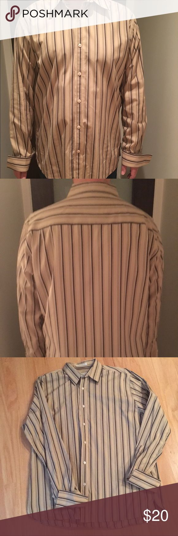 Perry Ellis (brand) Men's Cuffed Sleeve Shirt 100% Cotton, in excellent worn condition. No rips or stains. Sleeves are French cuffed, shirt did not come with cufflinks, buyer must use their own cufflinks. From a pet and smoke free home. Perry Ellis Shirts Dress Shirts