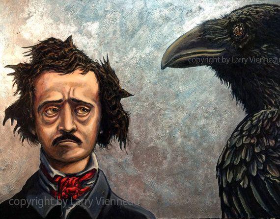 Edgar Allan Poe, Nevermore,  large painting, raven painting, acrylic painting, crow painting, original painting, handmade pigment,