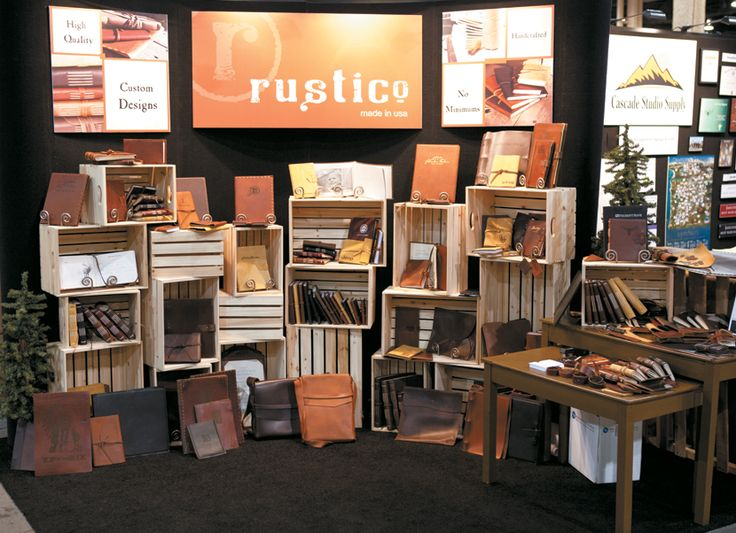 Non-traditional product display using crates ~ Rustico Leather at PPAI Expo