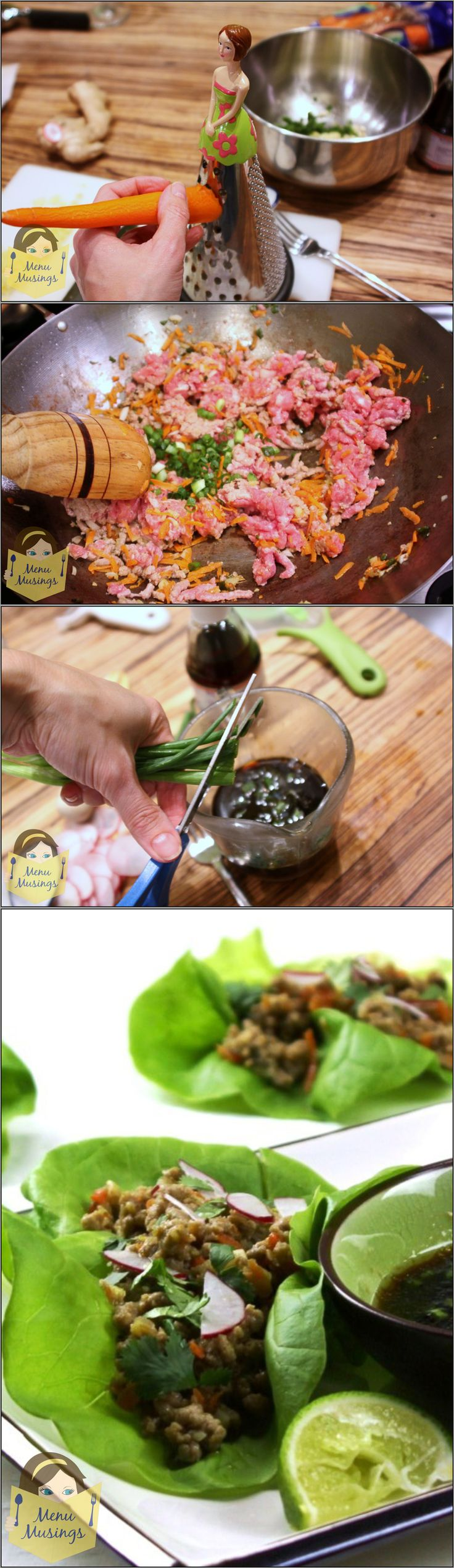 Vietnamese-Style Lettuce Cups - gorgeous, healthy, full of veggies and and create a flavor explosion in your palate! Oh my these were SO good! Easy to put together and great for making ahead. Step-by-step tutorial included.