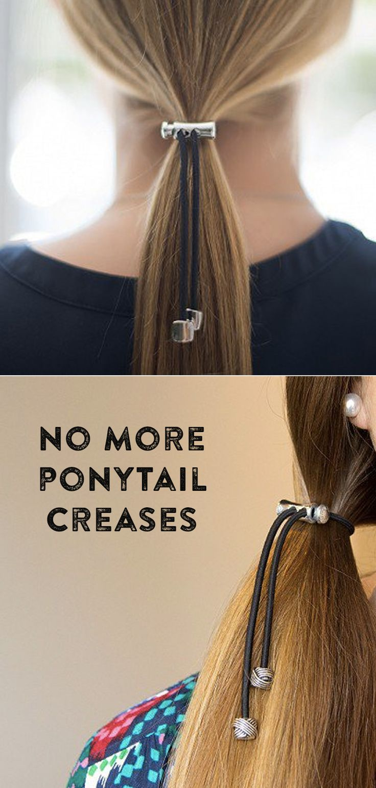Ponytail holders with a dangling metal charm secure hair all day without leaving a crease.