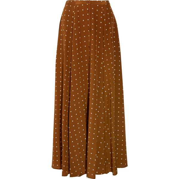 Diane von Furstenberg Polka-dot washed-silk maxi skirt ($535) ❤ liked on Polyvore featuring skirts, bottoms, polka dot skirts, brown skirt, flared maxi skirt, a-line skirt and long brown skirt