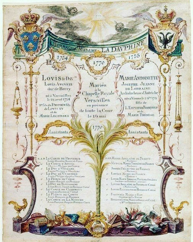 Wedding invite goals...! Yesterday in 1770 Marie Antoinette married Louis Auguste Dauphin of France in the royal chapel at Versailles. This was the couple's second wedding ceremony - the first a proxy wedding carried out with one of the bride's brothers standing in for the absent groom took place on 19th April in Vienna. #marieantoinette #louisauguste #weddinginvitation #weddingannouncement #fetherayjewels
