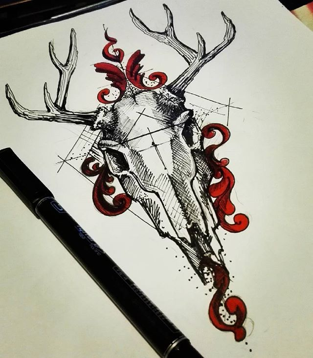 #deertattoo #deer #artwork #tattoos #tattoodesign #artcollective #art_collective #instapic #instagallery #like4like #artist #artwork #art #drawing #tattooidea #jelen #gdansk #art_collective_mag #artist_magazine #inataart #girl #skulltattoo #skull #iblackwork #red