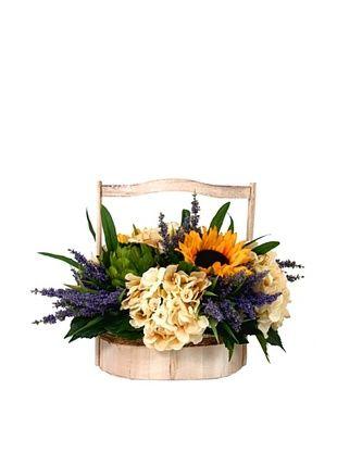 47% OFF Creative Displays Sunflower, Artichoke & Hydrangea in Wooden Basket