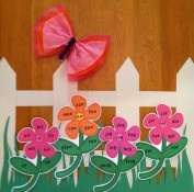 This links to a word family bulletin board. I like the fence with the flowers for below my white board.