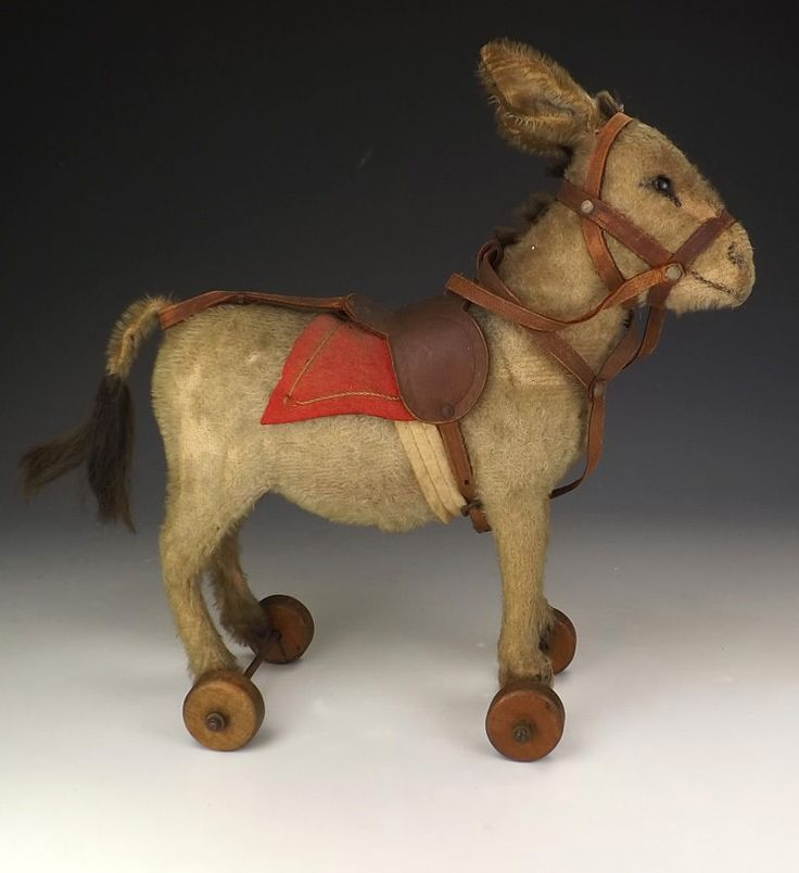 Antique Steiff Donkey on Wheels Soft Toy Teddy Bear Unusual | eBay