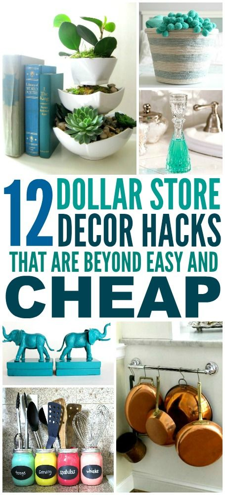 These 12 Dollar Store Decor Hacks are THE BEST! I'm so happy I found these GREAT home decor ideas and tips! Now I have great ways to decorate my home a a budget and decorate on a dime! Definitely pinning!