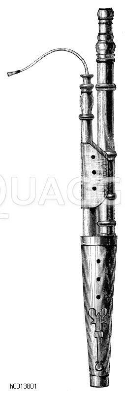 Erstes Fagott, welche auch Dolcian oder Dulcian hieß, nach Kanonikus Afranios' Angaben aus dem 16. und 17. Jahrhundert