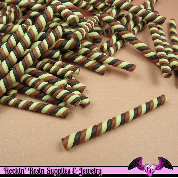 5 pc CHOCOLATE MARSHMALLOW or Taffy Twist Sticks Fimo Decoden Candy Clay Canes
