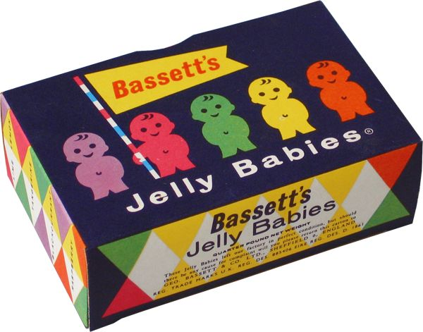 "Bassett's 'Jelly Babies' are a type of soft confectionery that are shaped as babies in a variety of colors. Jelly babies were launched by Bassett's in 1918 in Sheffield as ""Peace Babies"" to mark the end of World War I. Production was suspended during World War II due to wartime shortages. In 1953 the product was relaunched as ""Jelly Babies"". In March 1989 Bassett's were taken over by Cadbury-Schweppes."