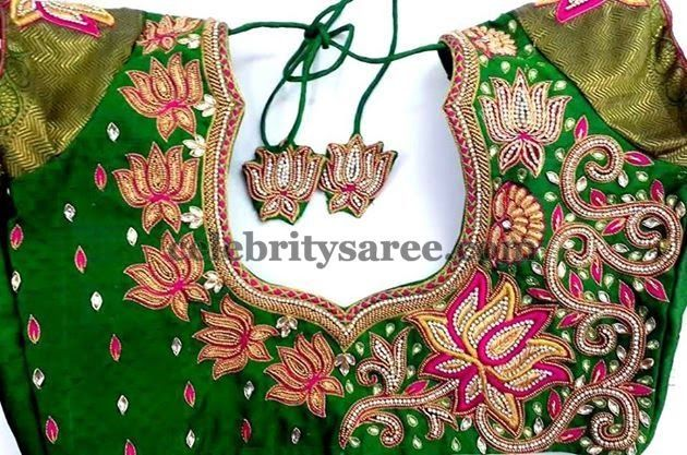 Lotus Flowers Green Silk Blouse | Saree Blouse Patterns  - /fashioncir/heavy-work-bridal-blouse-designs/   362 pins BACK!!!