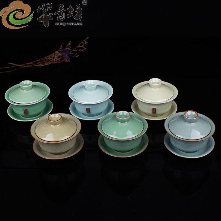 Gaiwan Open Film Cover Bowl Longquan Celadon Kung Fu Tea Cup Pot Tea Bowl
