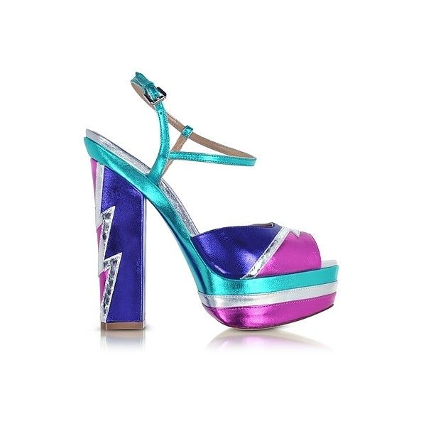 DSquared2 Shoes Glam Flash Platform Ziggy Sandal ($510) ❤ liked on Polyvore featuring shoes, sandals, purple, open toe sandals, purple shoes, high heel sandals, purple high heel shoes and metallic platform sandals