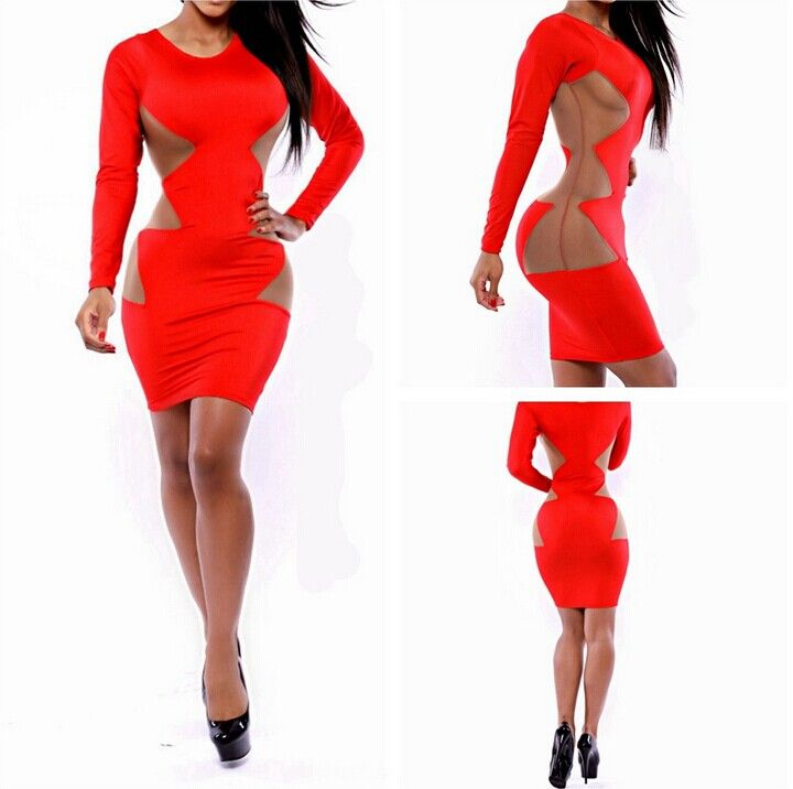 SUMMER WOMEN DRESS RED SIDE PATCHWORK SEXY MESH CLUB DRESS LONG SLEEVES CASUAL PARTY BANDAGE BODYCON DRESSES