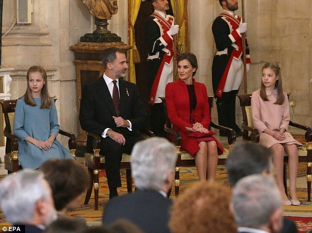 The royal couple's youngest daughter Princess Sofia, 10, was also present dressed in an elegant pink dress with a Peter Pan collar
