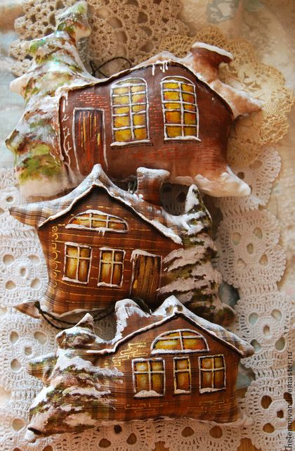 Кофейные домики. Зимний вариант. Домик с елочкой в снегу. - кофейная игрушка