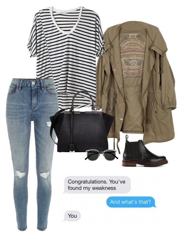 """""""Congratulations. You've found my weakness"""" by kcrxx ❤ liked on Polyvore featuring Hope, River Island, Fendi, H by Hudson, Retrò, stripes, rippedjeans, parka, Tshirt and chelseaboots"""