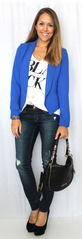 Today's Everyday Fashion: Cobalt Blazer x 2 — J's Everyday Fashion