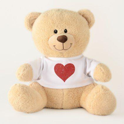 Glitter Stars - Silver Red Teddy Bear - glitter glamour brilliance sparkle design idea diy elegant