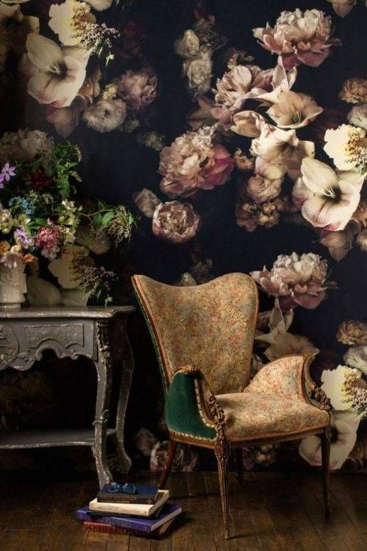 black rooms black and pink floral wallpaper with gold chair