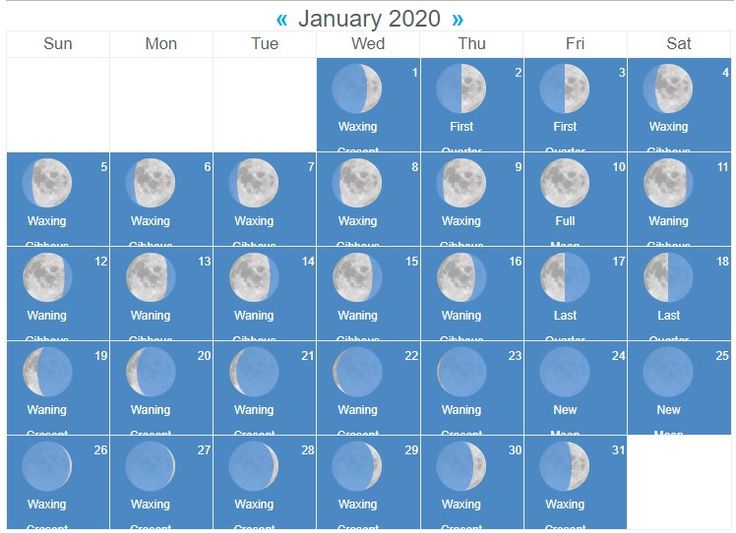 New Full Moon Phases For January 2020 Lunar Calendar