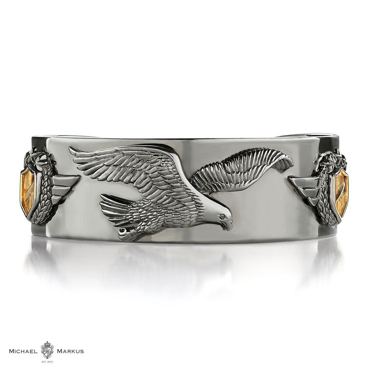 AQUILA The eagle sees no limits and reaches for the sky -  925 sterling silver cuff | 18k white and yellow gold elements | black diamond accents | selected black rhodium plating