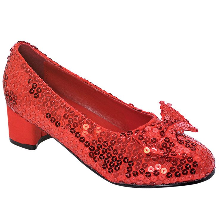 1031 Children's Red Sequin Shoes, Small 11-12, Red