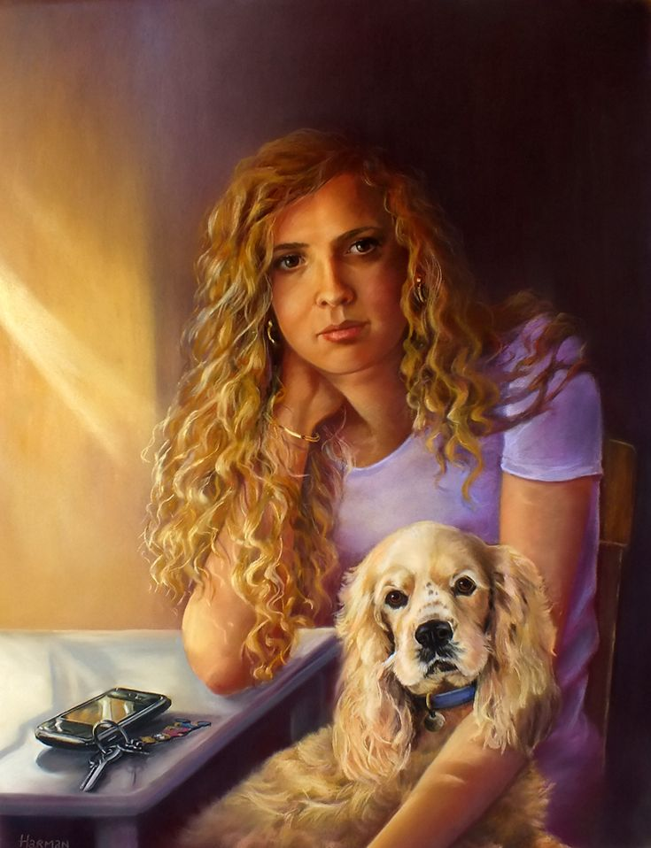 portrait commission.  pastel 'Leanne, Mojo and the mobile phone'.  25 x 19inches.  sold.