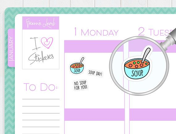 Soup Stickers Planner Stickers Food Stickers Calendar